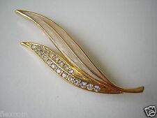 Hochwertige goldfarbene Modeschmuck Brosche Emailliert + farblose Steine 6,6 g