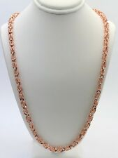 "Men's 10k Rose Gold Turkish Link Chain Necklace 24"" 5mm - 38 grams"