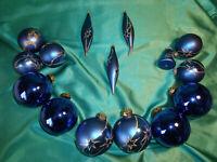 ~ Konvolut Christbaumschmuck Glas15 Weihnachtskugeln Oliven Glocke blau gold CBS