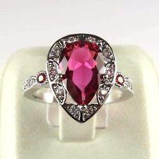 Pink Tourmaline & Garnet simulated Gemstone ladies silver ring size 9 R#8667