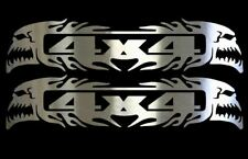 (2) 4 X 4 FLAMING SKULL Chrome Vinyl Decals - 6 inch Cars,Trucks,SUV, PLAQUE
