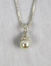 8mm Fashion White Pearl  925 STERLING SILVER PENDANT JEWELRY
