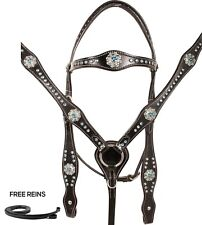 CRYSTAL HEADSTALL REINS BREAST COLLAR SHOW BARREL WESTERN HORSE TACK SET LEATHER