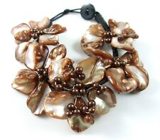 "1.6"" Brown Flower Design Mother of Pearl Shell Beads bracelet 8"" size : GA217"