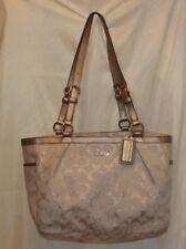 Coach Signature Gallery Tote bag Purse Handbag  ivory and metallic gold 17724
