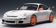 AUTOART PORSCHE 997 GT3 RS SILVER W/ ORANGE STRIPES 1:12*Back in Stock*LARGE CAR