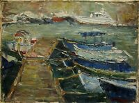 Russian Ukrainian Soviet Oil Painting palette knife boats seascape mooring