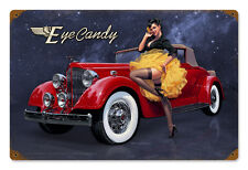 Eye Candy Classic Car HILDEBRANDT METAL SIGN PINUP GIRL HAND SIGNED FREE PRINT