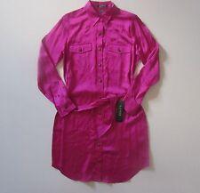 NWT LAUREN Ralph Lauren Satin Pink Belted Button Down Military Shirt Dress 2
