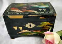Vintage Black Lacquer Wood Jewelry Japan Music Box DOESN'T WORK