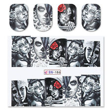 2sheets Nail Art Water Decal Transfer Stickers Skull Lady Halloween BN-186