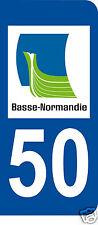 1 Sticker plaque immatriculation AUTO adhésif département 50