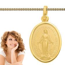 wundertätige Madonna Echt Gold 585 Hl. Maria Immaculata Milagrosa + Silber Kette