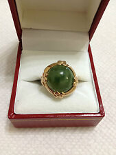 VINTAGE ESTATE JEWELRY LADIES 10K YELLOW GOLD JADE FASHION RING EXCELLENT