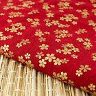 Red Gold Embossed Sakura Japanese Oriental Fabric Cotton Fat Quarter FQ #F0036