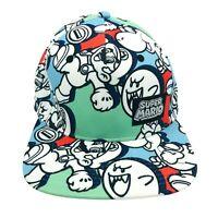 Nintendo Super Mario Bros Snapback Hat Cap All Over Print AOP Rare 2017 EUC