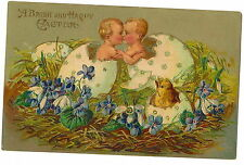 POSTCARD - VINTAGE EASTER - EMBOSSED - 2 CHILDREN HATCHING FROM EGGS & EMBRACING