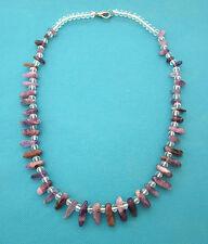 Natural Amatista y collar de abalorios de cristal Austriaco Facetado 261 CT (nk1034)
