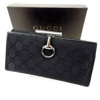 Gucci Wallet Purse Long Wallet GG Black Woman Authentic Used Y1435