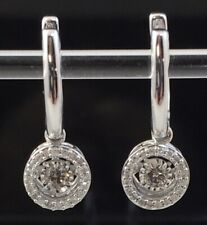 Estate 10k White Gold Zales .33 CTW Diamond Dangle Drop Hoop Earrings