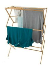 Lavish Home Clothes Drying Rack Bamboo Wooden Stand Lightweight Collapsible