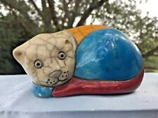 Vintage Stained Glass Pottery Laurel Burch Calico Cat Unique Figurine Ooak ��j8