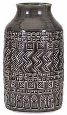"""Exquisite Tribal Design Gray Ceramic Low Relief Textured Decorative Vase 18"""" T"""