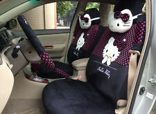 ** 18 Piece Deep Pink Polka Dot Hello Kitty Car Seat Covers **