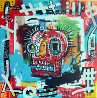 skull noze basquiat TABLEAU pop street art french painting canvas signed PyB