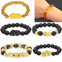 Wealth Mens Bangle Good Luck Bracelet Feng Shui Black Obsidian Beads Pi Xiu