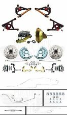 Complete Chevelle Front Power Disc Brakes, Full Line Set, Tubular Upper & Lowers