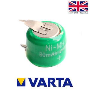 Varta 2/V80H / V80H Ni-MH 2.4V 80mAh Rechargeable 2 Pin Button Cell Battery