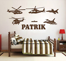 Custom Personalised Name Aircraft Plane Wall Art Stickers Kids Baby Vinyl Decals