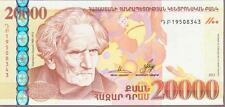 FREE REGISTERED SHIPPING ARMENIA 20000 DRAM BANKNOTE 2012 PERFECT UNC R17688