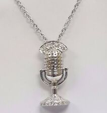 14k white gold microphone pendent with diamonds 0.20ctw 16' inch cahin