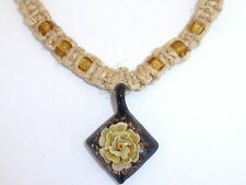 NEW Handmade Natural Hemp Rope Necklace Black Glass Square Yellow Flower Choker