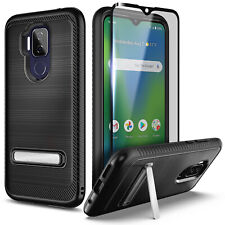 For Cricket Influence Case Shockproof Kickstand Cover + Tempered Glass Protector