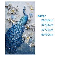 New Diamond Painting DIY Mosaic Embroidery Full Rhinestone Blue Peacock Decor