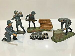 Rare LINEOL & ELASTOLIN German Artillery Soldiers, Composition, Excellent Cond
