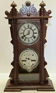 Antique Working 1889 Waterbury Perpetual Calendar No. 40 Double Dial Shelf Clock