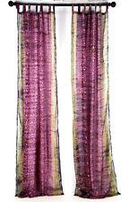 "Violet PURPLE Sari curtain, semi sheer panel, India, handmade, print 96"""