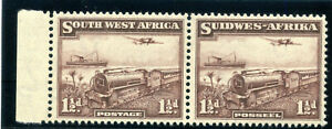 S.W.A. 1937 1½d deep purple-brown bilingual pair superb MNH. SG 96 var. CW 1a.