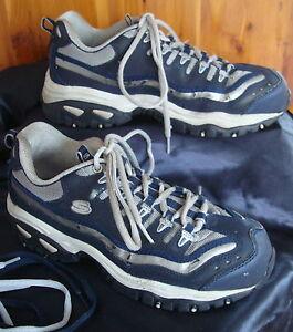 Womens Skechers 8M Steel Toe Athletic Work Shoes Navy Gray Extra Shoe Strings