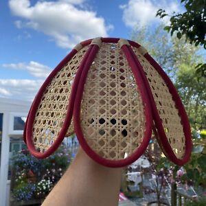 Wicker Lampshade - Bamboo - Cane - Boho - Retro Lampshade - Red
