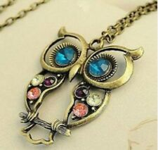 Owl Pendant Necklace Imitation Crystal Retro Gold Chain