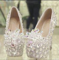 womens diamond crystal high-heeled slip on dream wedding dress formal shoes size