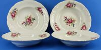 WAWEL ROSE PEONY Wav11 China Floral Gold Trimmed 4pc Soup or Cereal Bowl Poland