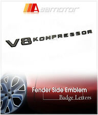 Chrome Black V8 KOMPRESSOR Side Emblem Badge for Mercedes W204 W212 W221 AMG