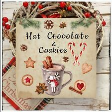 Wall hanging plaque/picture Winter Christmas Hot Chocolate and Cookie Kitchen