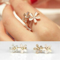 Women Sweet Rhinestone Jewelry Ring Gold Filled Daisy Crystal Rings Gift NT